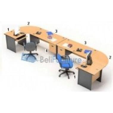 HighPoint 3 Meja Kantor One Series Warna Beech -