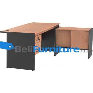 Grand Furniture NB 505 S(Meja 1 Biro Super + Kotak Laci + Kabinet Samping Sliding) -