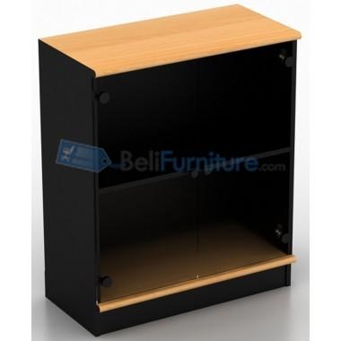 Uno Classic Lemari 2 Rak+Pintu Kaca+Afron Tinggi 95 cm -