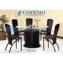Cofemo Meja + 5 Kursi Makan Type MC-02 + JC-02