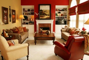 ruang keluarga warna merah